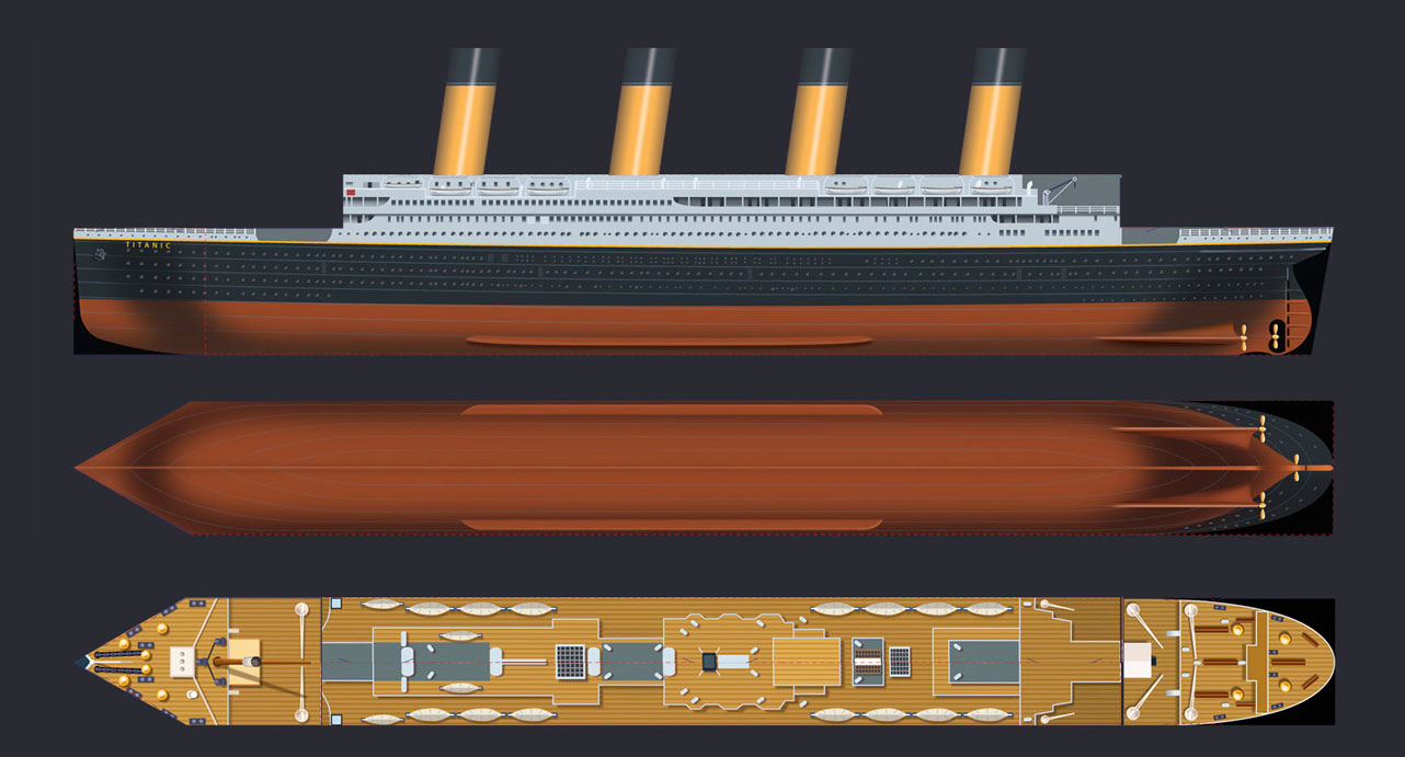 Titanic 3D Illustration